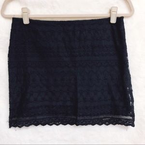 Abercrombie & Fitch Navy Blue Laced Zip Mini Skirt